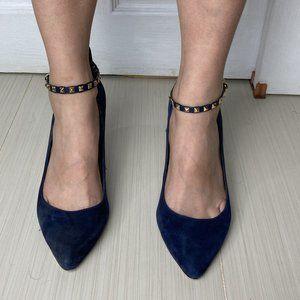 Blue Suede Studded BCBG Generation Heels Size 8.5